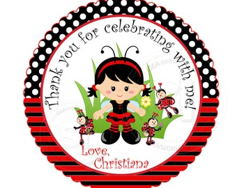 "Custom Lady Bug Birthday 2.5"" Printable Tags- Lady bugs Polka dots Scallop Tag- DIY Thank you ladybug tags-Digital File"