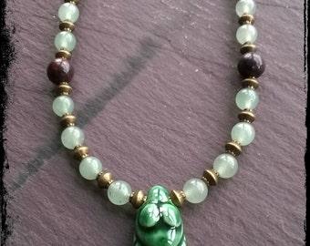 Earth Goddess Necklace, Gaia, green ceramic goddess, aventurine and bloodstone gemstones, fertility, abundance