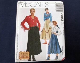 1994 Fringed Western Top & Skirt Uncut Vintage Pattern, McCalls 7293, Plus Size 16, 18, 20, Bust 38, 40, 42