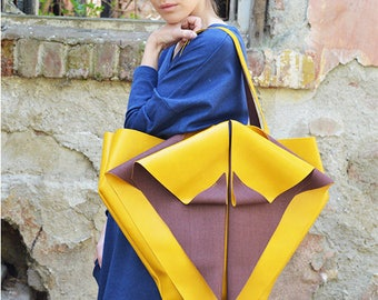 NEW, Yellow Origami Bag,Yellow Leather Tote,Handmade Faux Leather Bag,Yellow Tote, Yellow Handbag,Yellow Purse,ATTITUDE157 Faux Leather Tote