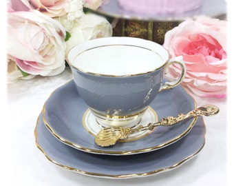 Colclough Grey Ballet Gilt Bone China English Tea Trio, Bone China Tea Cup, Saucer, Plate Tea Set Tea Party, Wedding #A325