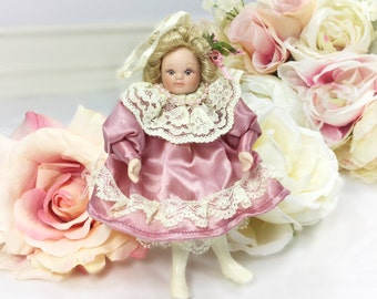 China Doll Christmas Ornament, Victorian Ornament, Vintage Christmas,  Shabby Chic Christmas #A215