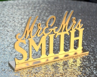 GOLD Mr and Mrs Wedding Sign. Mr & Mrs Sweetheart Table Sign. Laser cut and PERSONALIZED with last name. PICK your color.