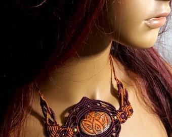 Micro - macrame necklace *MYSTIC LOTUS* with handmade Polymer clay cabochon. Lotus, Yoga, Meditation. India choker. Mystical lotus flower.