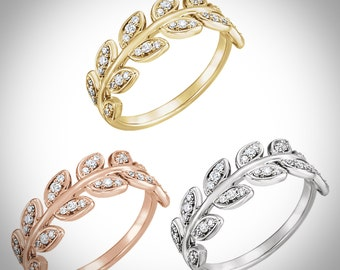 14K Gold 1/4 CTW Diamond Leaf Ring, Anniversary Band in Rose, White or Yellow Gold, Custom Sizes Available