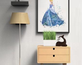 Disney Cinderella digital print Instant download Kids room wall art Printable art Digital download Last minute gift Girls room decoration D3