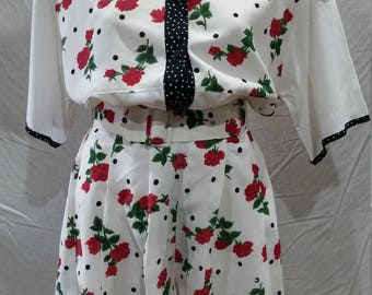 Vintage 80's Floral and polkadot twinset shirt and culottes
