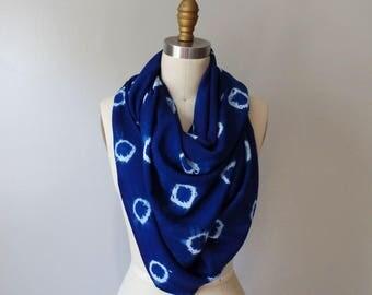 Hand Dyed Indigo Scarf, Indigo Oblong Scarf Deep Blue Tie Dye Handmade