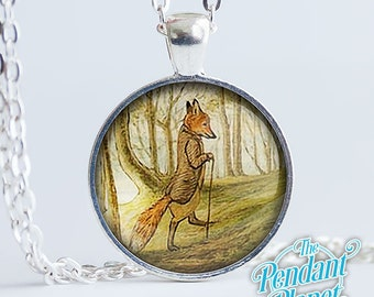 Tale of Mr. Tod Fox pendant, fox necklace glass cabochon art pendant, fox jewelry, gift for readers, book lovers, gift for best friend
