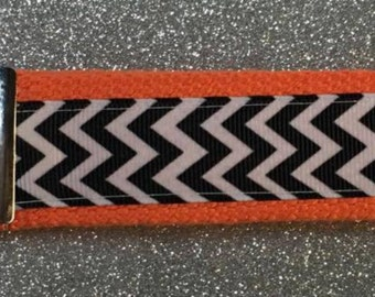 Chevron Key Fob Wristlets...CHOOSE COLOR! Black Chevron with YOUR Color Choice of Webbing (Backing)