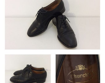 CHURCH'S - 80s Churh's Shoes - Oxford Leather Shoes - Church's Black Leather Shoes Size 36.5 EU
