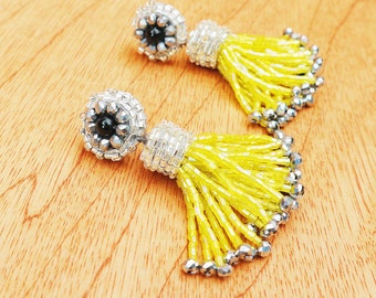 Short Yellow Tassel Earrings, Lime Yellow Tassel Earrings, Yellow POM POM Earrings, Lemon Yellow Beaded Tassel Earrings, Summer Earrings