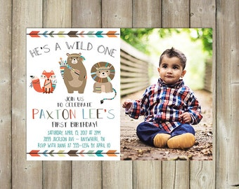 Wild One First Birthday Invitation - Tribal Animals - Boy's 1st Bday Invite - DIGITAL FILE