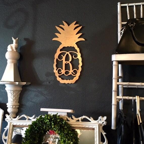 Painted Wood Monogram Door Hanger Pineapple Monogram Initial Wood Monogram Wall Art Pineapple Home Decor Monogram Decor Highway12Designs