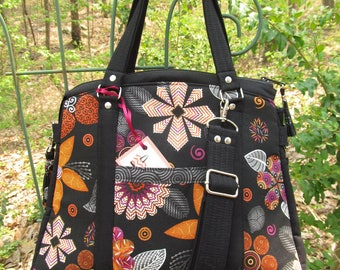 """Ready to Ship--The """"Snowdrop"""" LARGE Handbag/Purse/Tote-Featuring Coordinating Floral and Black print Fabric"""