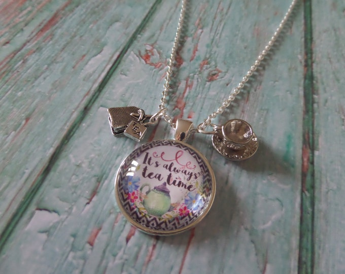"ALICE in WONDERLAND inspired 1"" glass dome "" it's always tea time "" 24"" necklace fan gift jewellery UK"