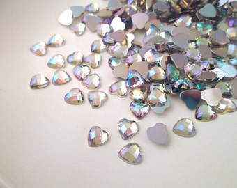 50 Iridescent Faceted AB 8mm Heart Cabochons #924
