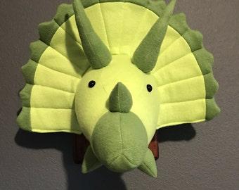 Triceratops Faux Taxidermy, Triceratops Decor, Dinosaur Nursery Decor, Stuffed Wall Mount, Triceratops Head, Stuffed Dinosaur, Cute Dinosaur