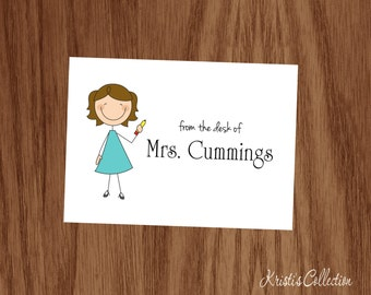 Personalized Teacher Note Cards - Personal Stick Figure Stationery Stationary - Folded Notecards - Teacher Appreciation Back to School Gifts