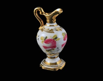 Limoges Miniature Pitcher, French Porcelain, Pink Floral Pattern, Gold Trimmed, Collectible, Miniature Jug
