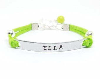 ID Bracelet | Hand Stamped Initial Bracelet for Women & Girls | Custom Name Bracelet | Personalized Bracelet | Engraved Tag Bracelet