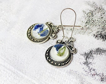 blue silver earrings dainty jewelry nature earrings teardrop earrings gifts daughter birthday gift idea small earrings/for/kid gift Кю26