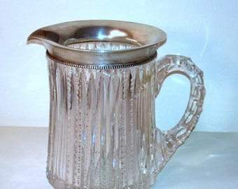 Antique Cut Lead Crystal Creamer Pitcher with Fine Sterling Silver Rim 18 3UF 925/1000 Fine Silver Creamer Pitcher Antique Small Pitchers