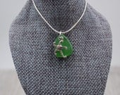 Lake Erie Beach Glass Necklace with Curly Starfish Charm