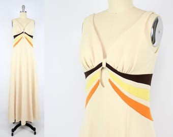 Vintage 70's Orange Brown and Yellow Swirl Maxi Dress / 1970's Sleeveless maxi Dress / Women's Size Small