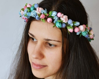 Wedding crown Wedding flower crown Pink blue flower headband Wedding flower halo Wedding flower headpiece Rustic wedding halo Bridal halo