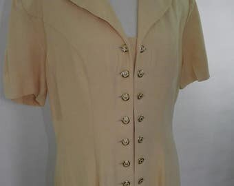 Vintage dress Joseph Ribkoff 80s lemon dress short sleeve dress size large L