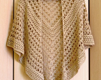 Lace Crochet Shawl - Beige Wrap Shawl Gift For Women Mom Wife Girlfriend - Linen Triangle Shawl - Black White Eco Friendly Wrap - ItWasYarn