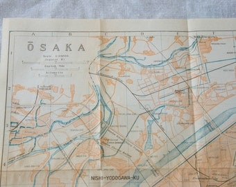 1933 Osaka Japan Antique Map