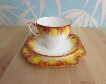 1930s/40s A. B. J Grafton China handpainted trio, autumnal/fall sunset colour palette