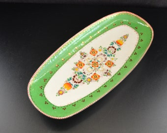 Steinbock Enamel Tray Handmade in Austria Email Studio Hand Crafted Decorated Metal Green Floral Decor