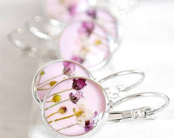 Bridal gift earrings set Bridesmaid jewelry for bride Wedding set Bridal set Lavender jewelry for wife Real flower jewelry for girlfriend