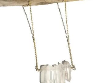 Natural Quartz Necklace | Quartz Necklace, gold necklace, raw crystal quartz