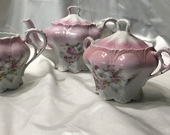 Antique, Beautiful, Victorian Teapot, Creamer and Sugar Bowl Set