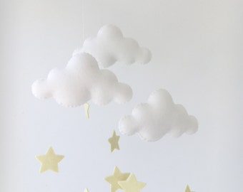 White and Pale Yellow Stars Merino Felt Cloud Mobile with Baby Nursery Childrens Decor