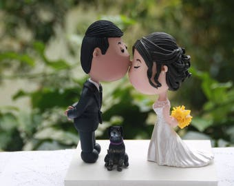 Romantic kiss couple with pet dog. Wedding cake topper. Handmade. Fully customizable.