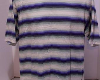 80s 90s Bugle Boy Horizontal Striped Color Block Short Sleeve Shirt Size Large