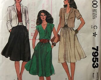 McCalls 7953 - 1980s Pullover Dress and Notched Collar Jacket - Size 14 Bust 36