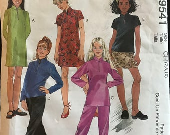 McCalls 9541 - Easy to Sew Girls Drses, Tunic, Top, Pull On Pants, and Skirt - Size 7 8 10