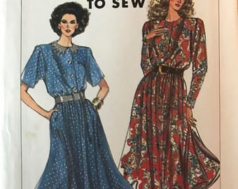 Simplicity 9390 - 1980s Easy to Sew Pullover Dress with Blouson Bodice and Flared Midi Length Skirt - Size 6 8 10 12 14