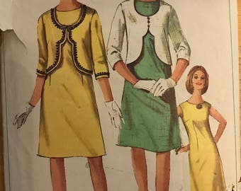 Simplicity 6339 - 1960s Novelty Shortwaisted Jacket and Sleeveless Sheath Dress - Size 12 Bust 32
