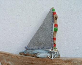Driftwood Sailboat, Driftwood Art, Nautical Decor, Wooden Boat, Home Decor, Coastal Decor, Sailing Ship, Beach Decoration