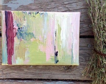 Green Abstract Art, Small painting, Original canvas art, Light green and pink wall art, 4x6 Art, Acrylic Painting, Abstract expressionism