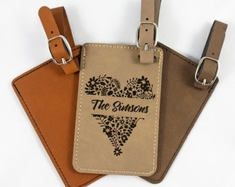 Personalized Bag Tag - Leatherette Luggage Tag - Wedding Gift - Travel Tag - Trip ID Tag - Floral Heart