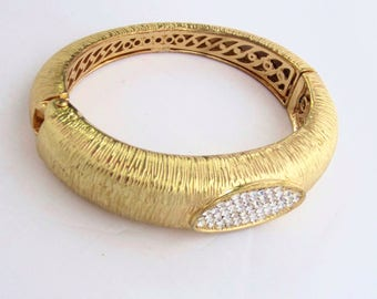 Quality Crystal, matte Gold tone CLAMPER bangle BRACELET ~well-made, vintage costume jewelry with under gallery