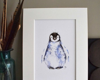Penguin print, Watercolour Penguin Wall Art, Duvet Penguin, Penguin Illustration